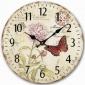 欧式挂钟客厅简约创意清新乡村田园风复古蝴蝶卧室静音圆形时钟表